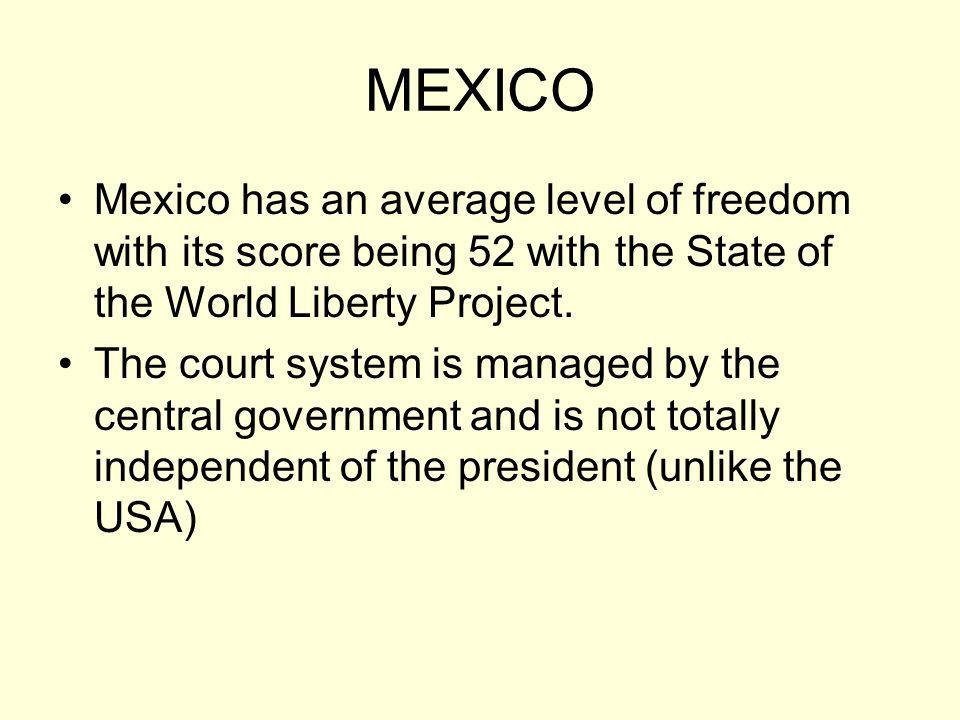 MEXICO Mexico has an average level of freedom with its score being 52 with the State of the World Liberty Project. The court system is managed by the