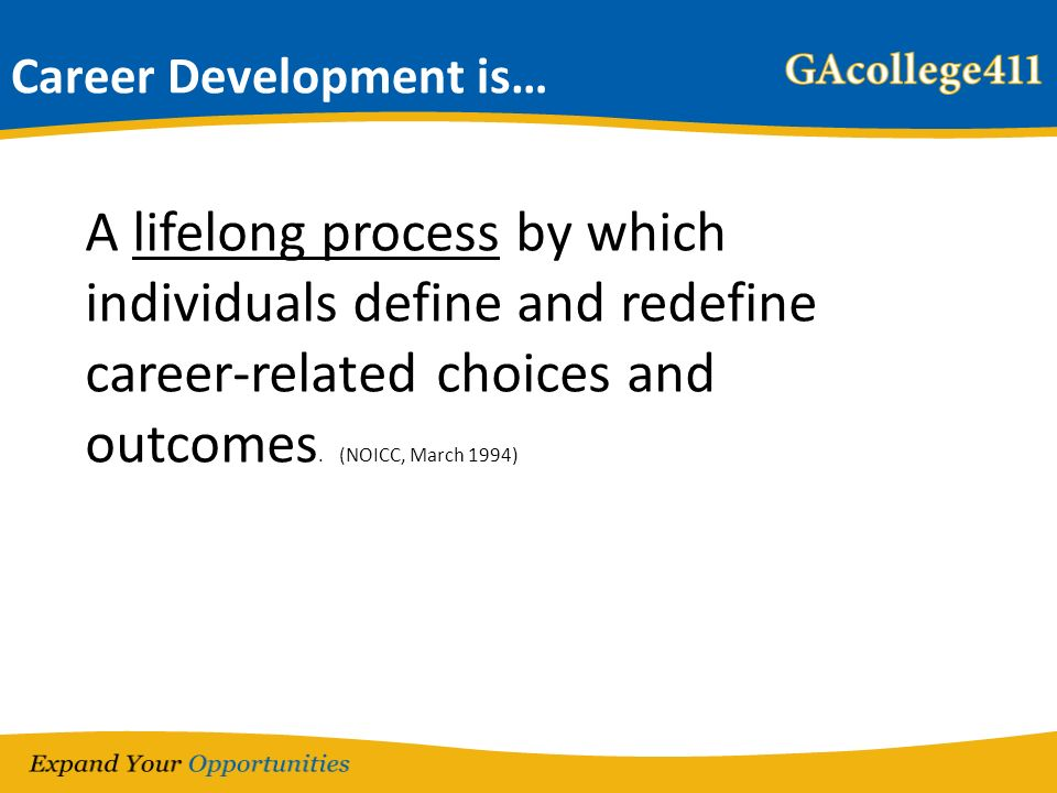 Career Development is… A lifelong process by which individuals define and redefine career-related choices and outcomes.