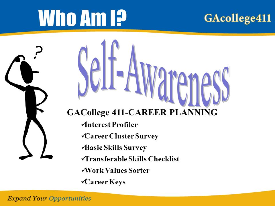 Who Am I? GACollege 411-CAREER PLANNING Interest Profiler Career Cluster Survey Basic Skills Survey Transferable Skills Checklist Work Values Sorter C