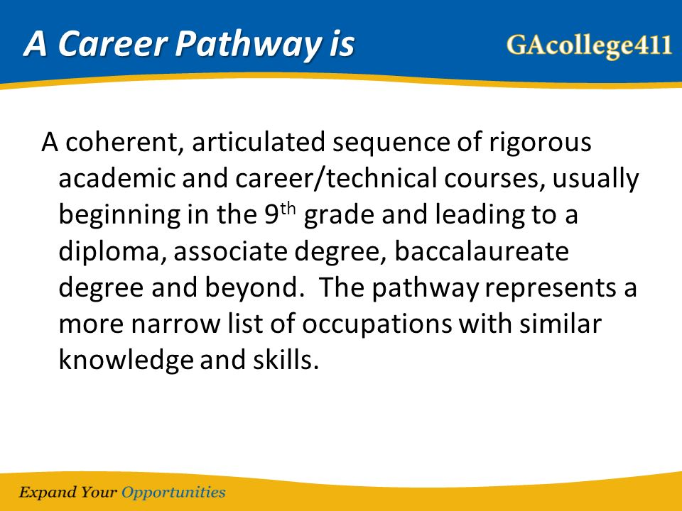 A Career Pathway is A coherent, articulated sequence of rigorous academic and career/technical courses, usually beginning in the 9 th grade and leading to a diploma, associate degree, baccalaureate degree and beyond.