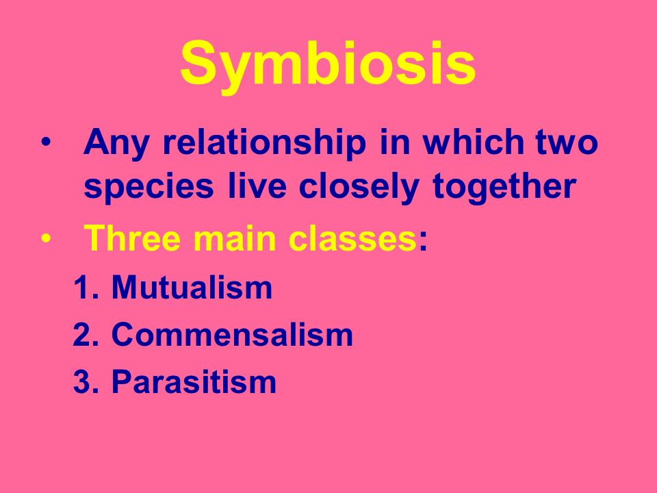 Symbiosis Any relationship in which two species live closely together Three main classes: 1.Mutualism 2.Commensalism 3.Parasitism