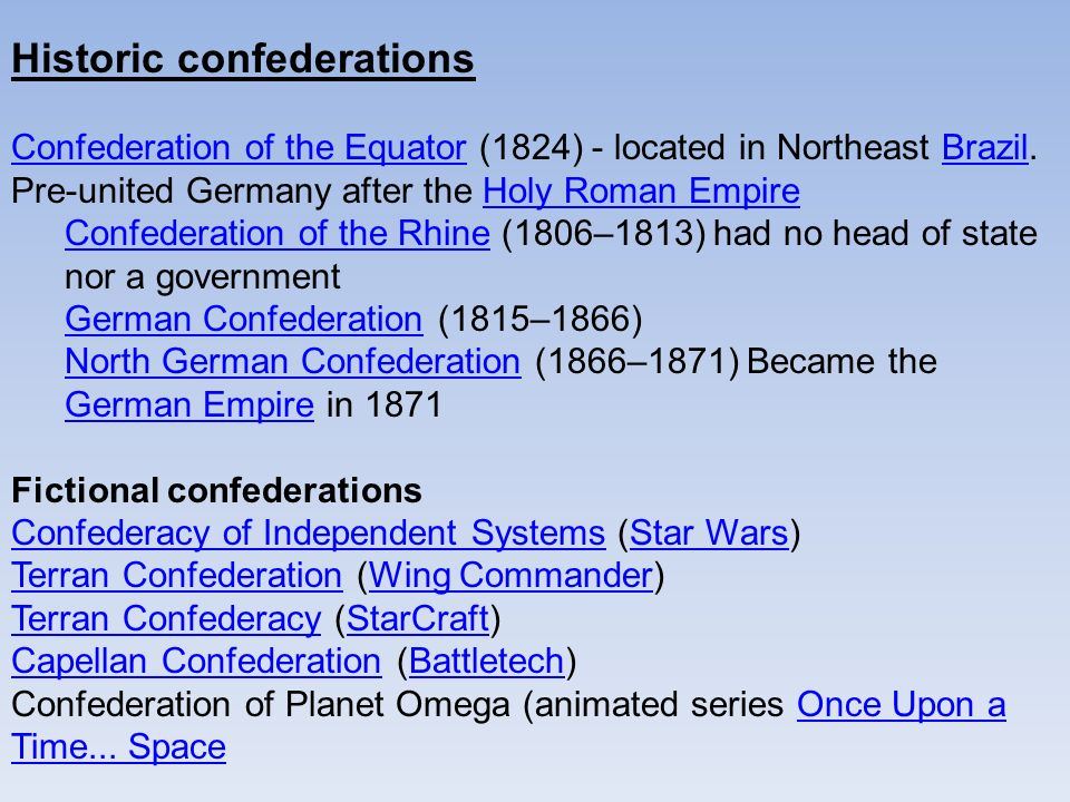 Historic confederations Confederation of the EquatorConfederation of the Equator (1824) - located in Northeast Brazil.Brazil Pre-united Germany after