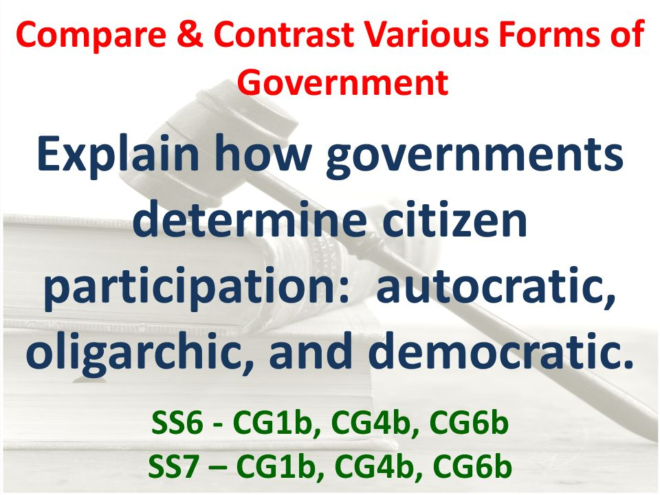 Compare & Contrast Various Forms of Government Explain how governments determine citizen participation: autocratic, oligarchic, and democratic. SS6 -