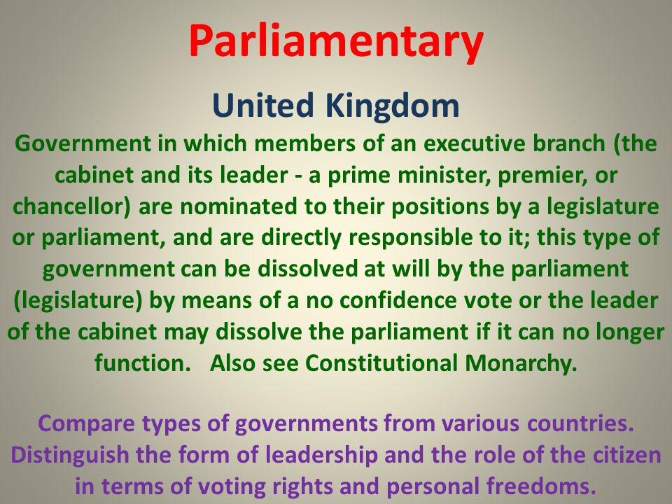 Parliamentary United Kingdom Compare types of governments from various countries. Distinguish the form of leadership and the role of the citizen in te
