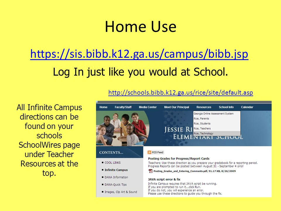 Home Use   Log In just like you would at School.