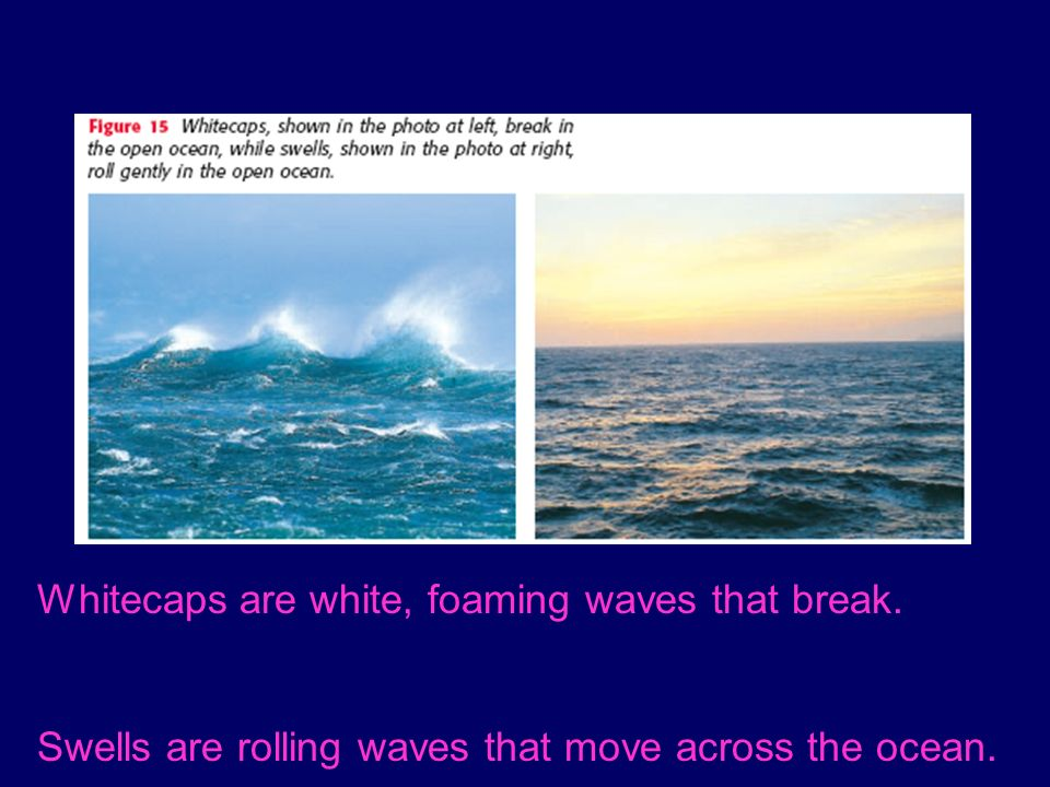 Whitecaps are white, foaming waves that break. Swells are rolling waves that move across the ocean.