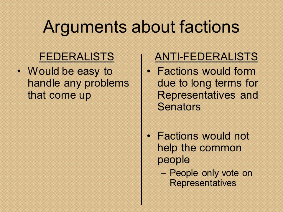 Arguments about factions FEDERALISTS Would be easy to handle any problems that come up ANTI-FEDERALISTS Factions would form due to long terms for Repr