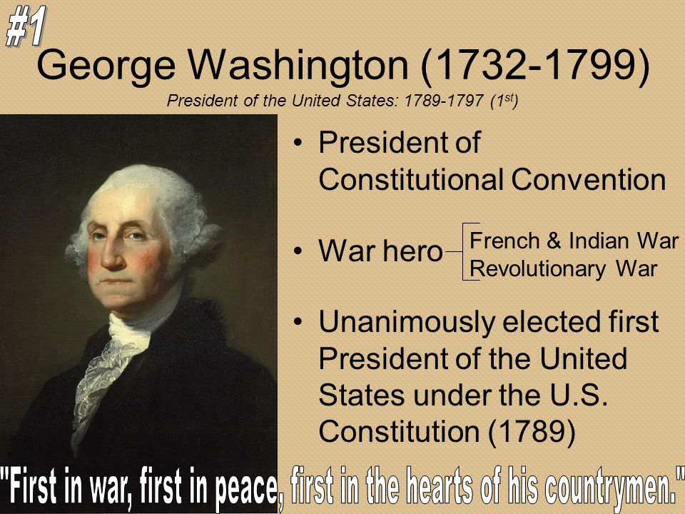 George Washington (1732-1799) President of Constitutional Convention War hero Unanimously elected first President of the United States under the U.S.