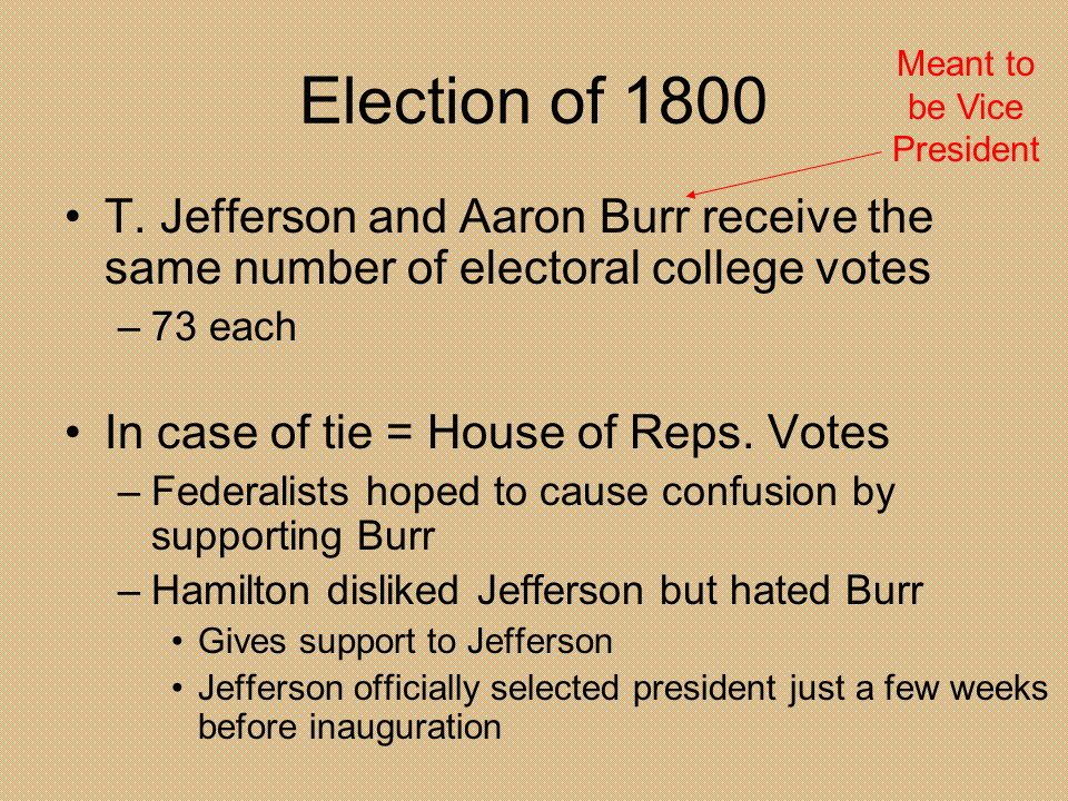 Election of 1800 T. Jefferson and Aaron Burr receive the same number of electoral college votes –73 each In case of tie = House of Reps. Votes –Federa