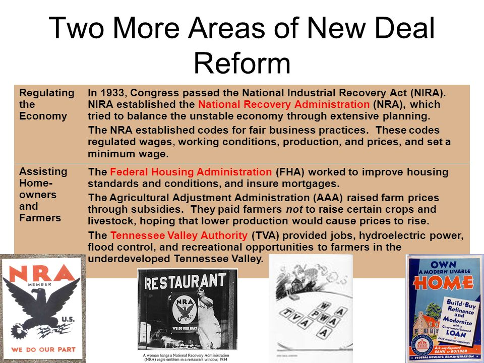 In 1933, Congress passed the National Industrial Recovery Act (NIRA). NIRA established the National Recovery Administration (NRA), which tried to bala