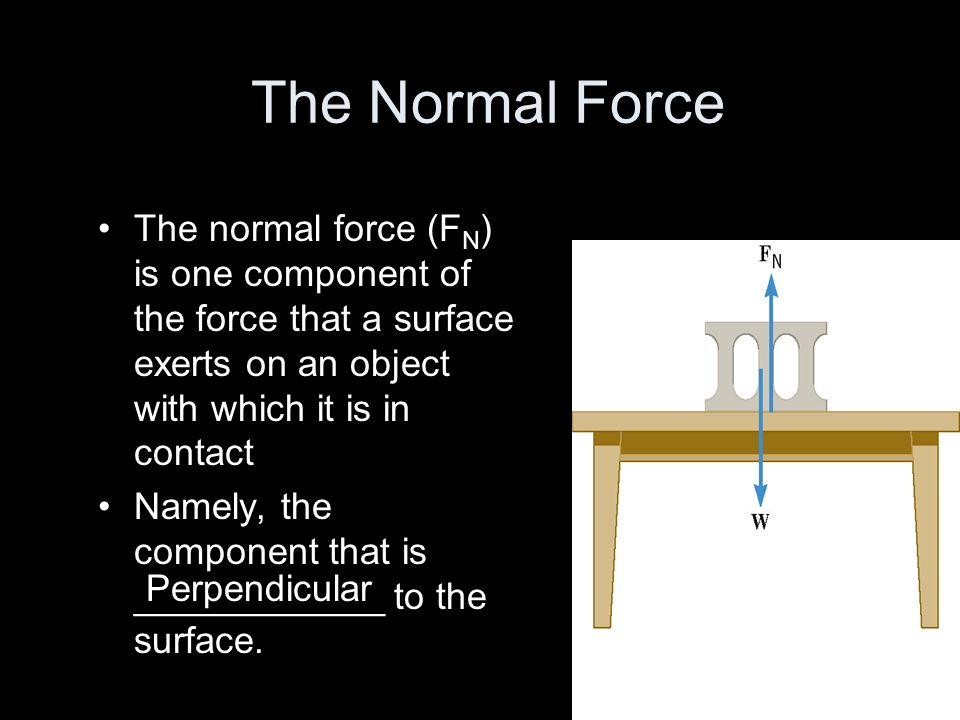 The Normal Force The normal force (F N ) is one component of the force that a surface exerts on an object with which it is in contact Namely, the comp