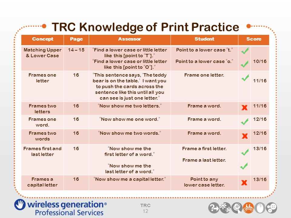TRC Knowledge of Print Practice TRC 12 ConceptPageAssessorStudentScore Matching Upper & Lower Case 14 – 15Find a lower case or little letter like this
