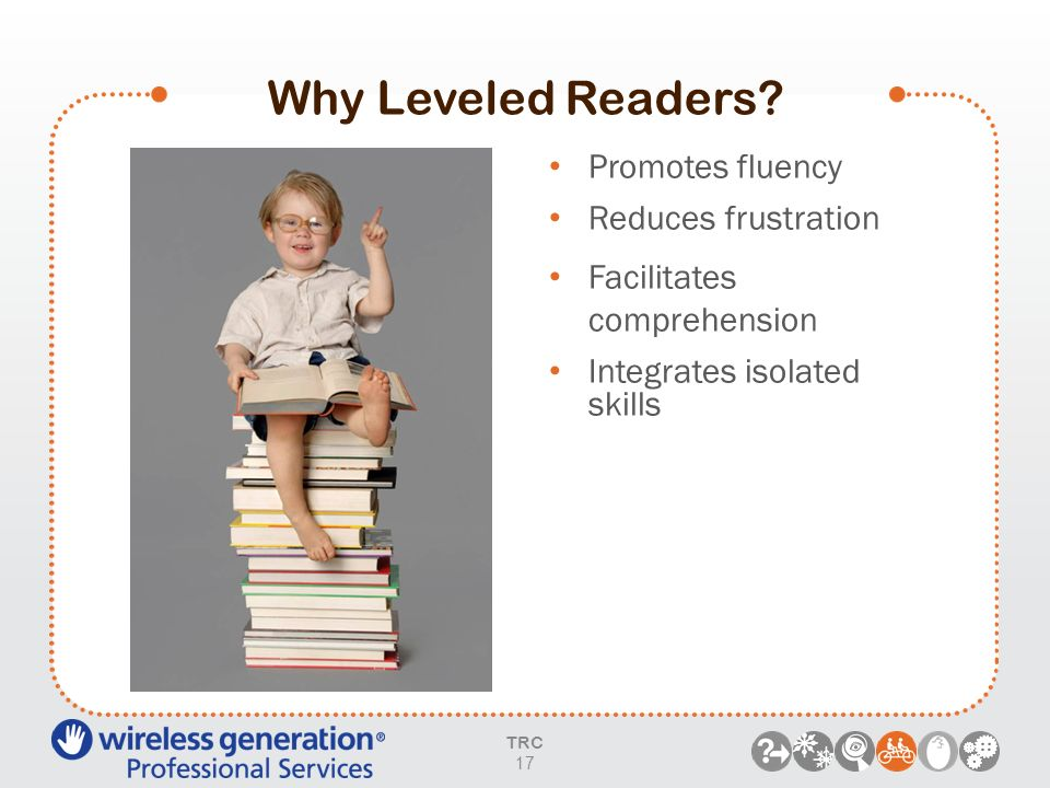 Why Leveled Readers? TRC 17 Promotes fluency Reduces frustration Facilitates comprehension Integrates isolated skills