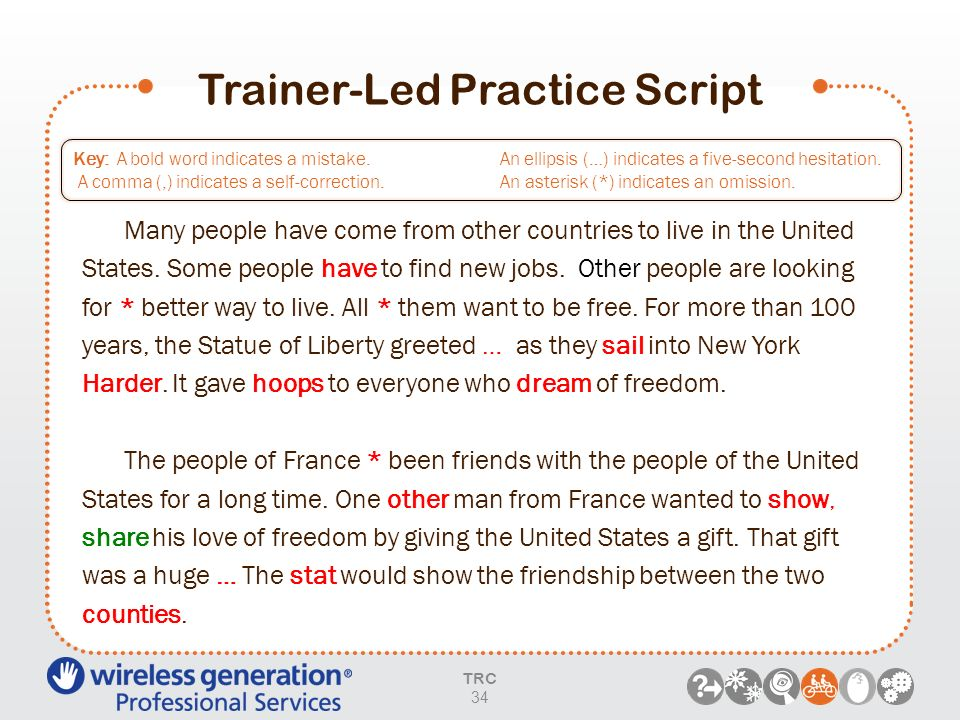 Trainer-Led Practice Script Key: A bold word indicates a mistake. A comma (,) indicates a self correction. An ellipsis (…) indicates a five-second hes