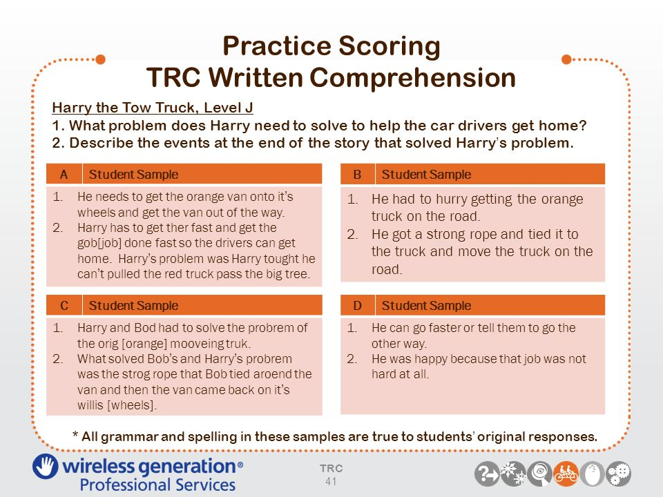Practice Scoring TRC Written Comprehension TRC 41 AStudent Sample 1.He needs to get the orange van onto its wheels and get the van out of the way. 2.H