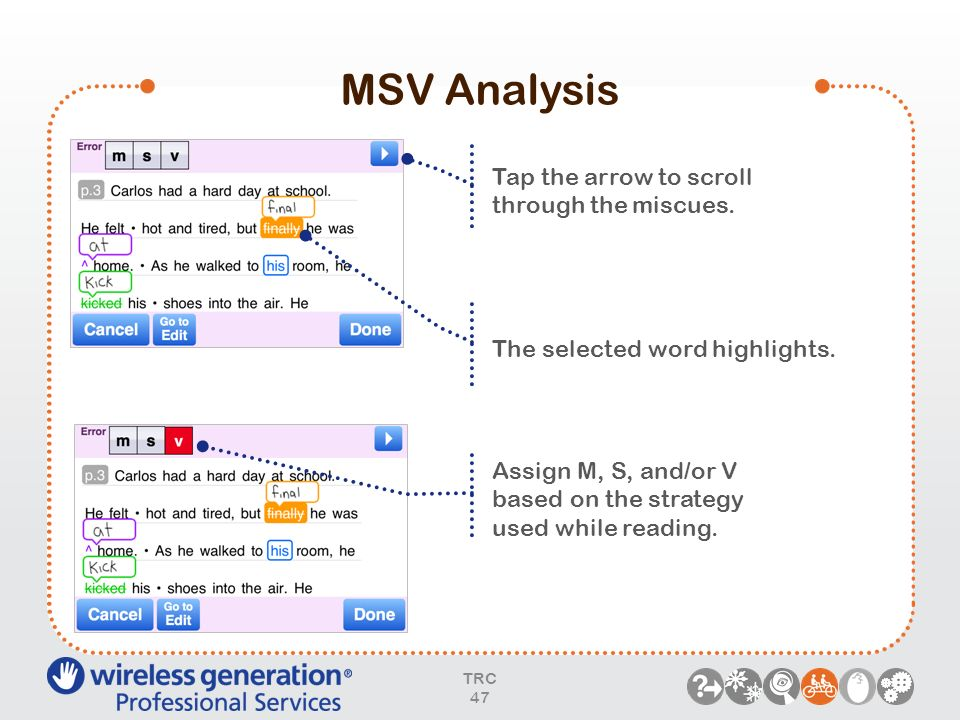 MSV Analysis TRC 47 Tap the arrow to scroll through the miscues. Assign M, S, and/or V based on the strategy used while reading. The selected word hig