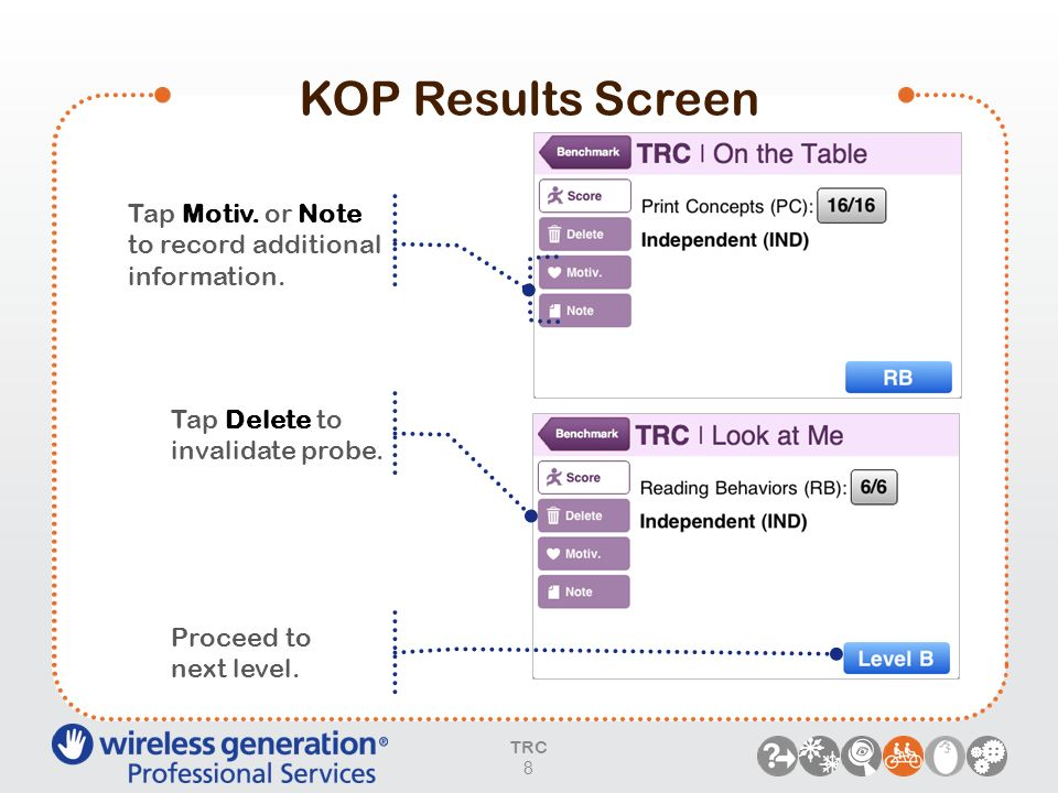 KOP Results Screen Tap Motiv. or Note to record additional information. Tap Delete to invalidate probe. Proceed to next level. TRC 8