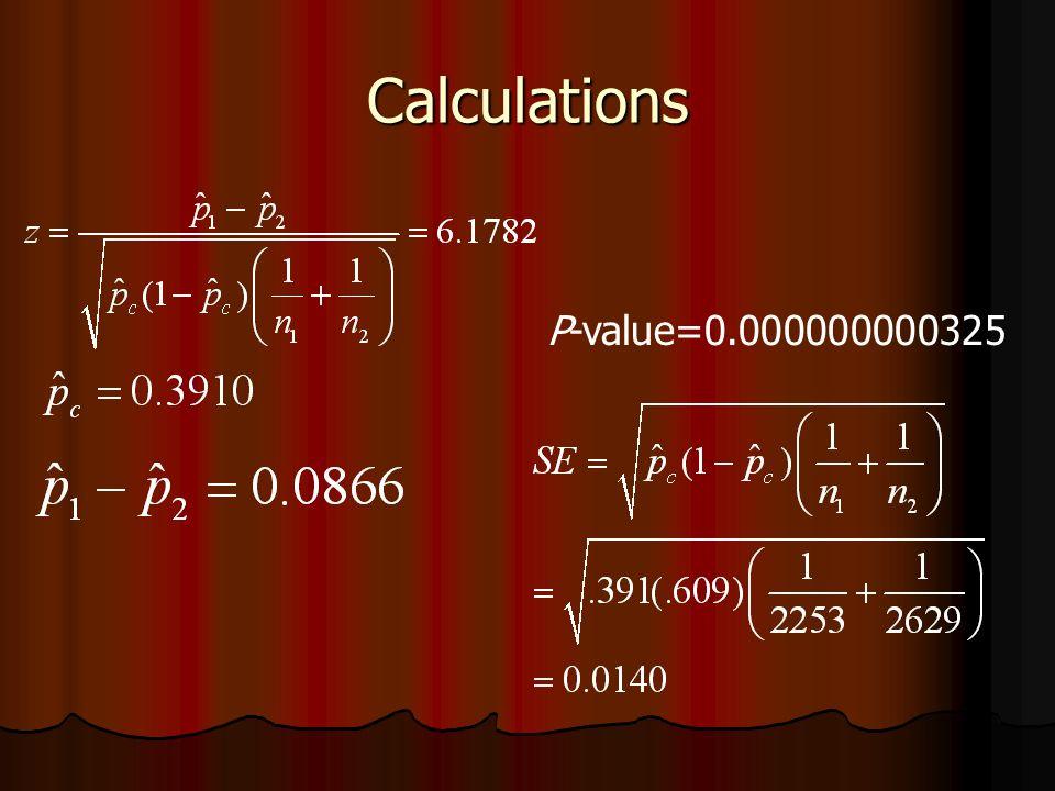 Calculations P-value=0.000000000325