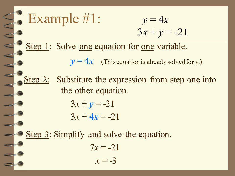 Example #1: y = 4x 3x + y = -21 Step 1: Solve one equation for one variable. y = 4x (This equation is already solved for y.) Step 2: Substitute the ex