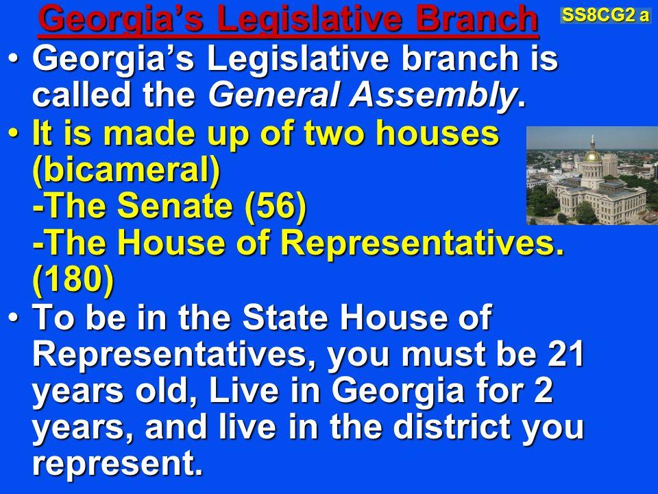 Georgias Legislative Branch Georgias Legislative branch is called the General Assembly.Georgias Legislative branch is called the General Assembly. It