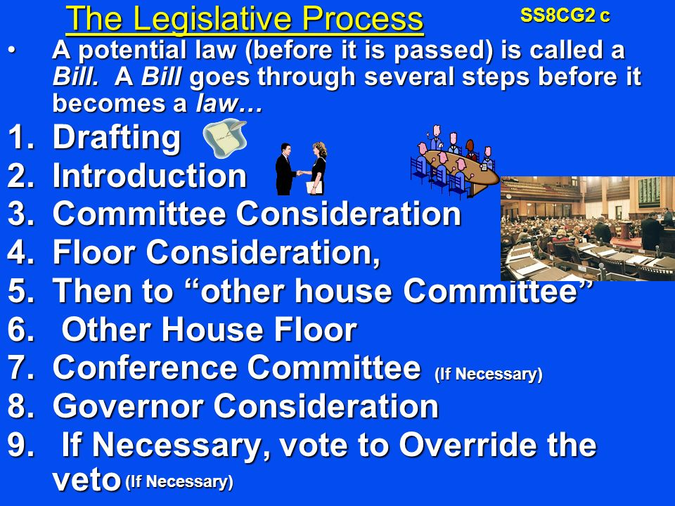The Legislative Process A potential law (before it is passed) is called a Bill.