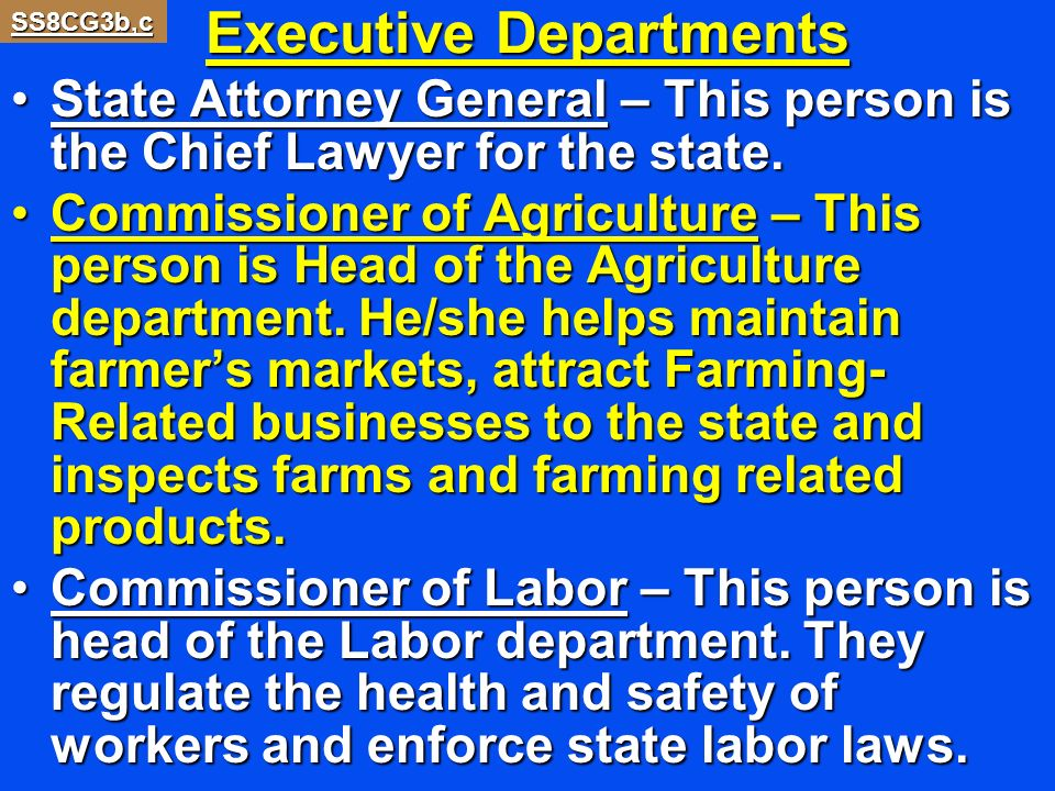 Executive Departments State Attorney General – This person is the Chief Lawyer for the state.State Attorney General – This person is the Chief Lawyer