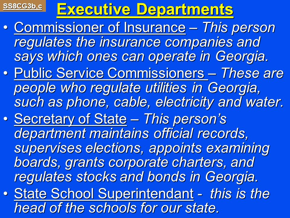 Executive Departments Commissioner of Insurance – This person regulates the insurance companies and says which ones can operate in Georgia.Commissione