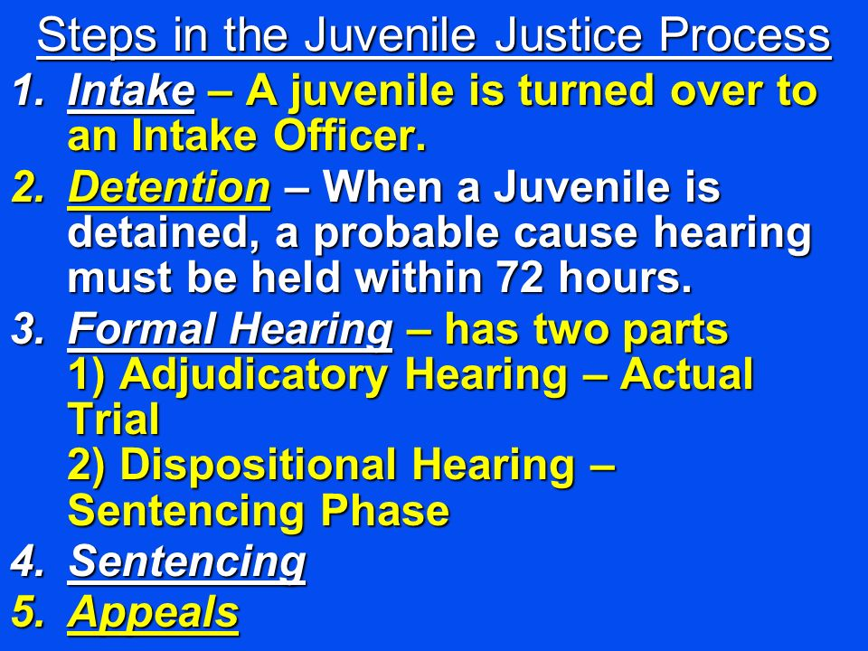 Steps in the Juvenile Justice Process 1.Intake – A juvenile is turned over to an Intake Officer. 2.Detention – When a Juvenile is detained, a probable