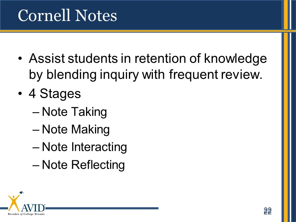 22 Cornell Notes Assist students in retention of knowledge by blending inquiry with frequent review. 4 Stages –Note Taking –Note Making –Note Interact