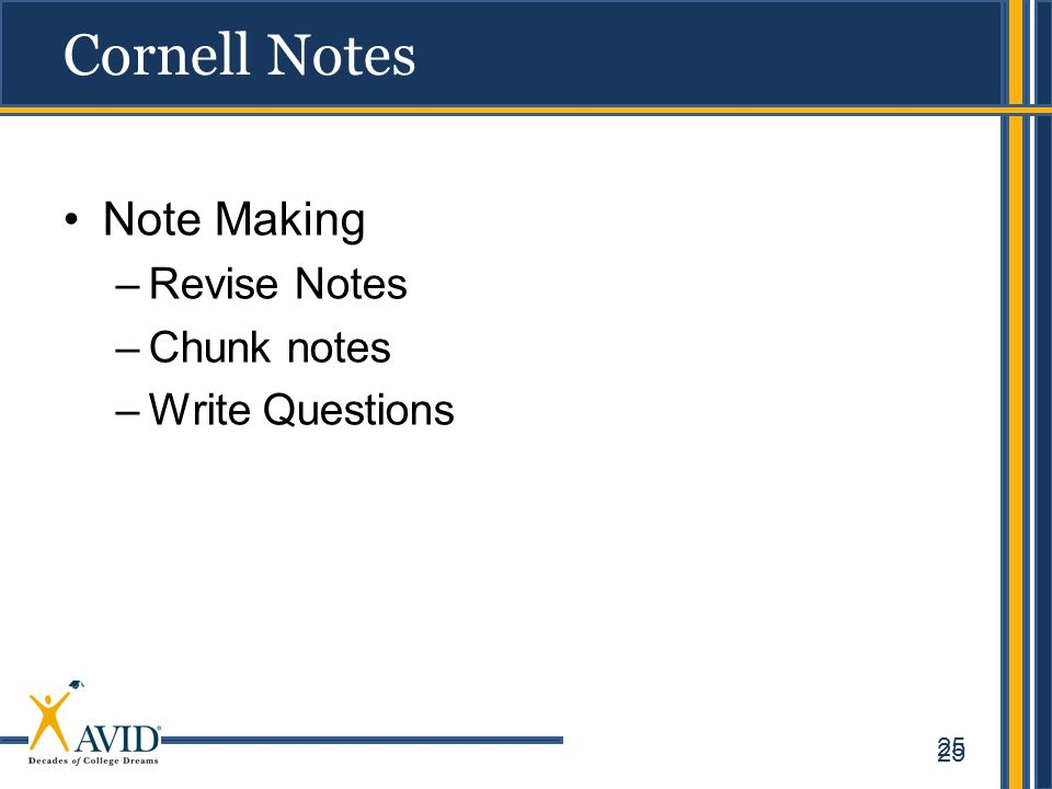 25 Cornell Notes Note Making –Revise Notes –Chunk notes –Write Questions 25