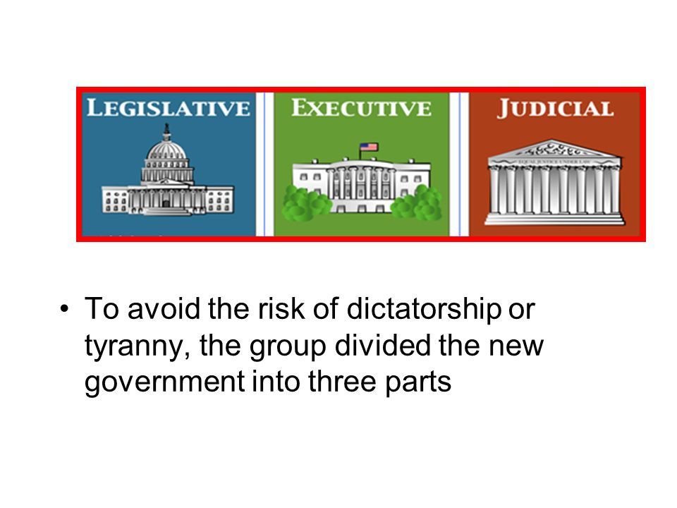 To avoid the risk of dictatorship or tyranny, the group divided the new government into three parts