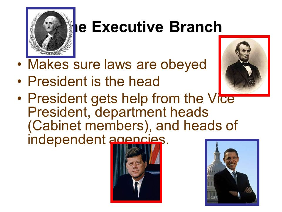 The Executive Branch Makes sure laws are obeyed President is the head President gets help from the Vice President, department heads (Cabinet members),