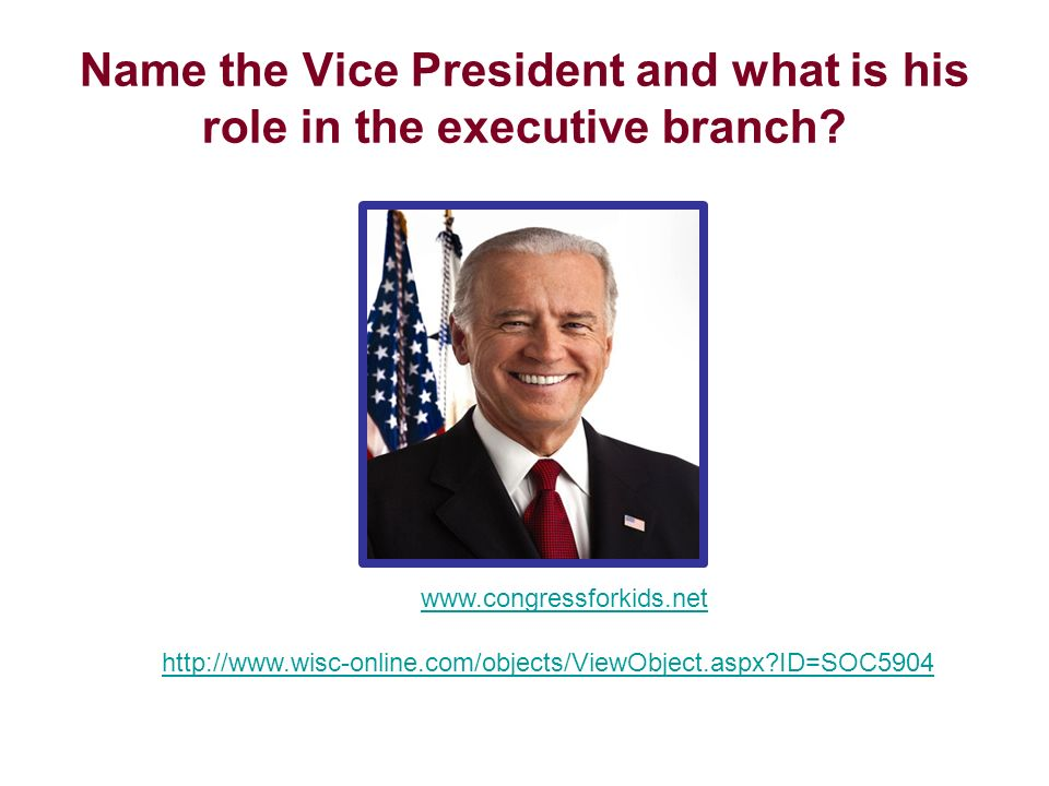 Name the Vice President and what is his role in the executive branch? www.congressforkids.net http://www.wisc-online.com/objects/ViewObject.aspx?ID=SO