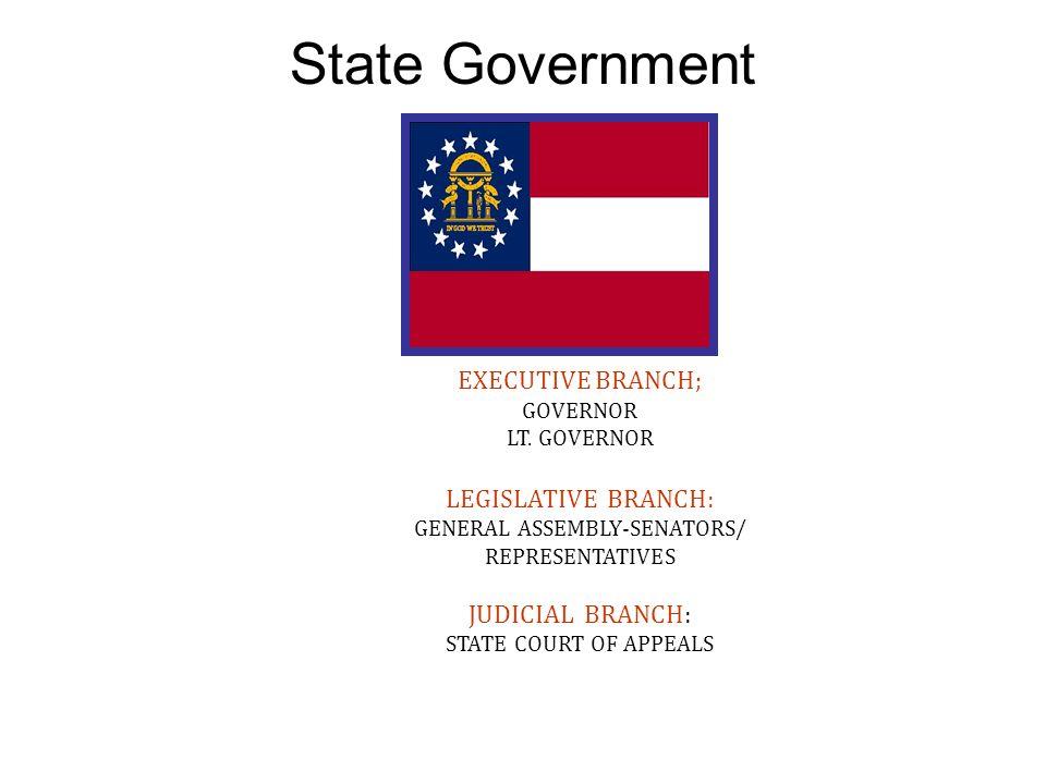 State Government EXECUTIVE BRANCH; GOVERNOR LT. GOVERNOR LEGISLATIVE BRANCH: GENERAL ASSEMBLY-SENATORS/ REPRESENTATIVES JUDICIAL BRANCH: STATE COURT O
