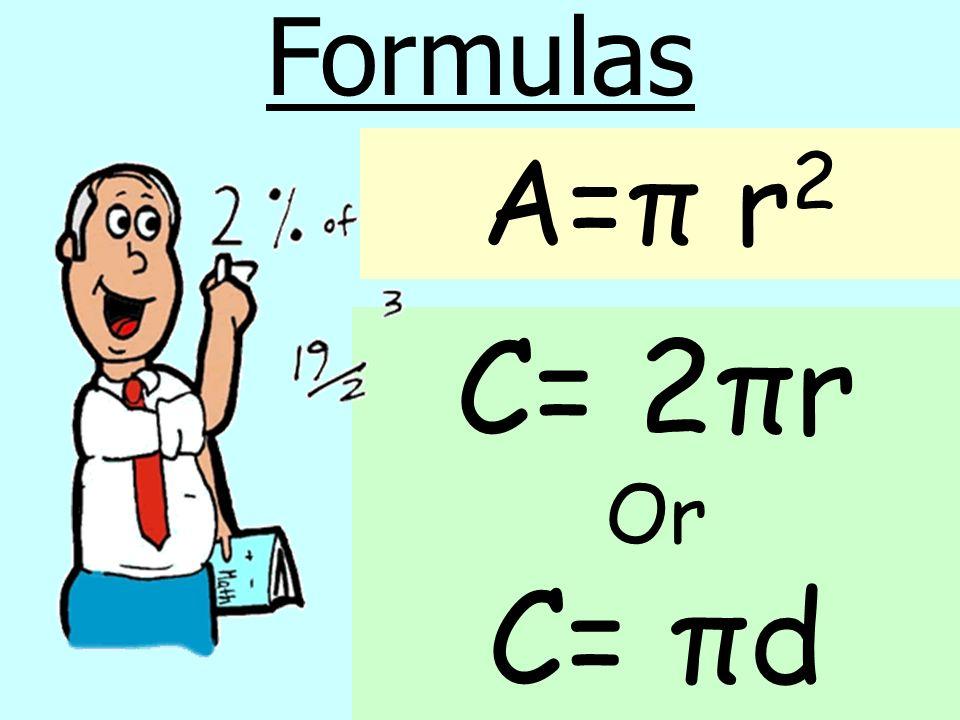 A=π r 2 Formulas C= 2πr Or C= πd