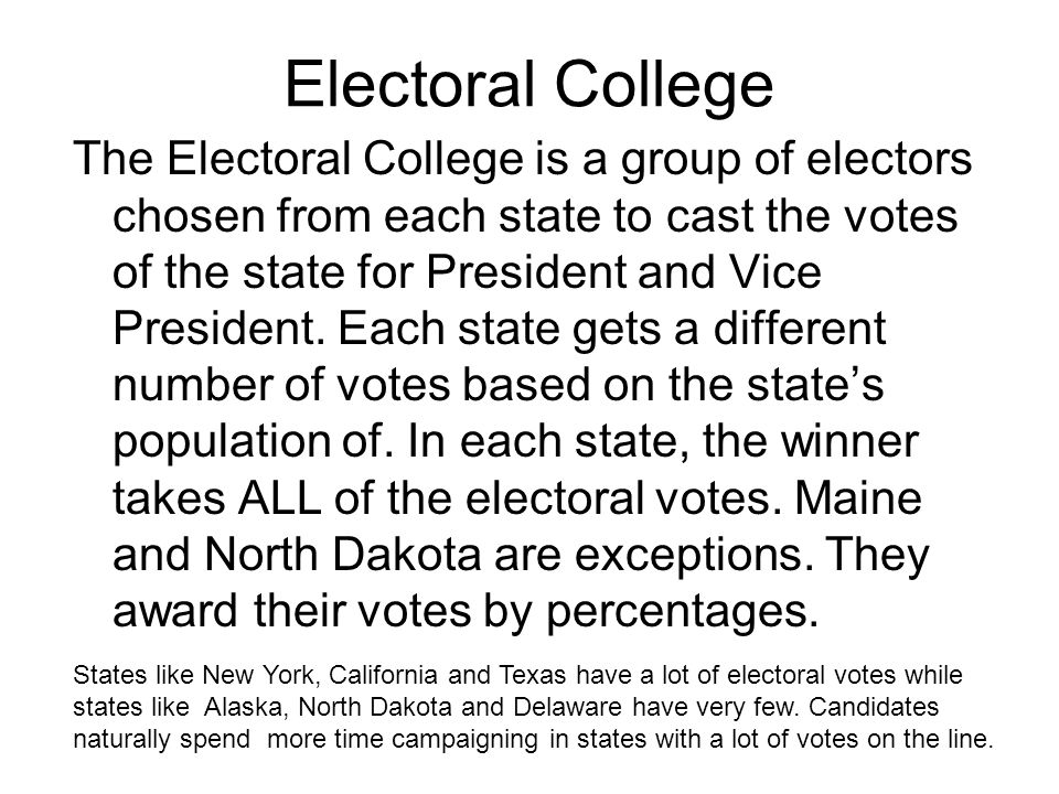 Electoral College The Electoral College is a group of electors chosen from each state to cast the votes of the state for President and Vice President.
