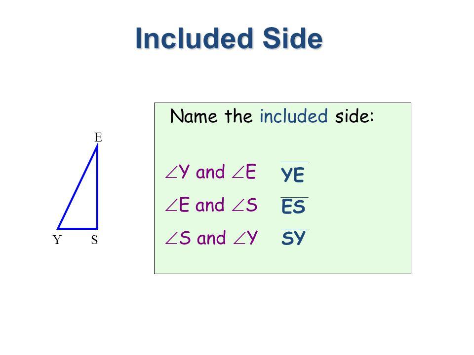 Name the included side: Y and E E and S S and Y Included Side SY E YE ES SY