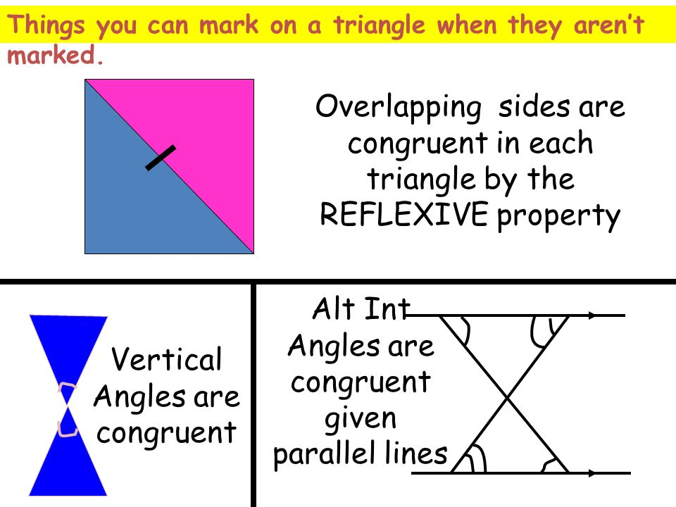 Overlapping sides are congruent in each triangle by the REFLEXIVE property Vertical Angles are congruent Alt Int Angles are congruent given parallel l