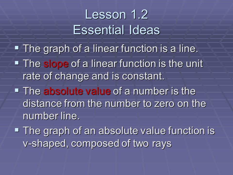 Lesson 1.2 Essential Ideas The graph of a linear function is a line.