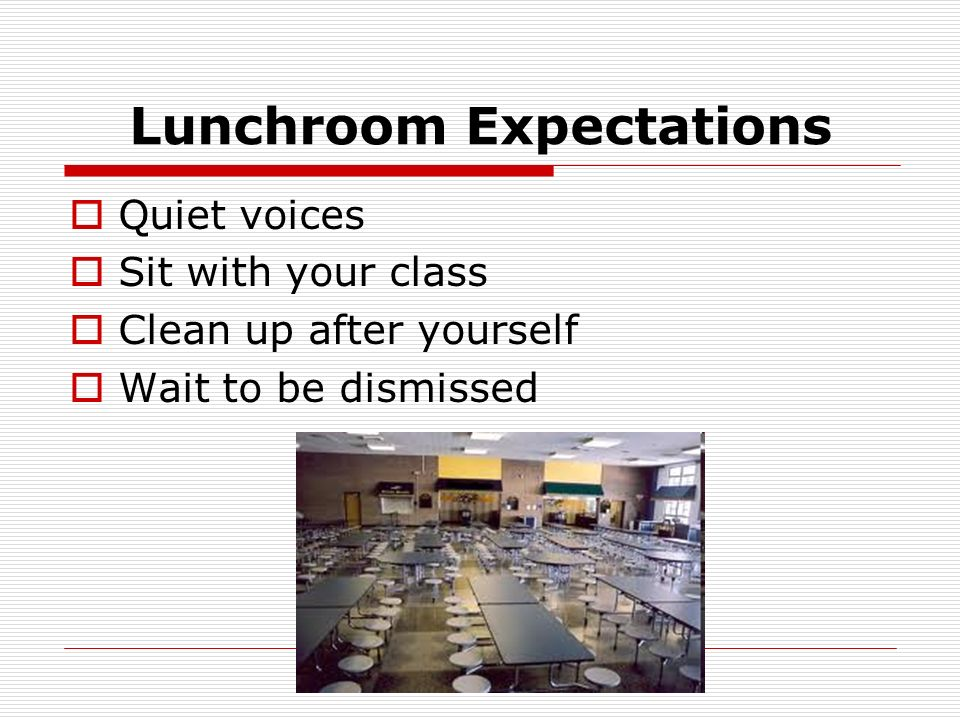 Lunchroom Expectations Quiet voices Sit with your class Clean up after yourself Wait to be dismissed
