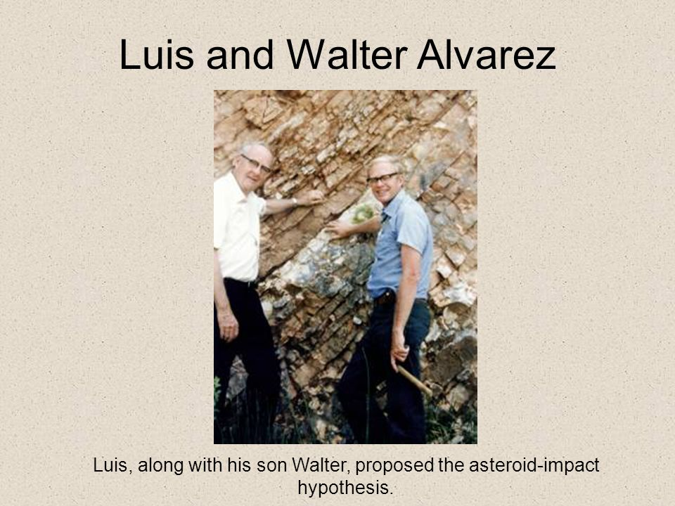 Luis and Walter Alvarez Luis, along with his son Walter, proposed the asteroid-impact hypothesis.