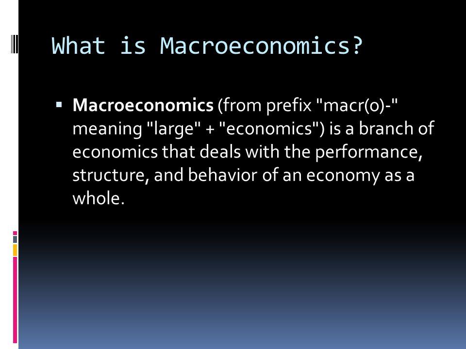What is Macroeconomics? Macroeconomics (from prefix
