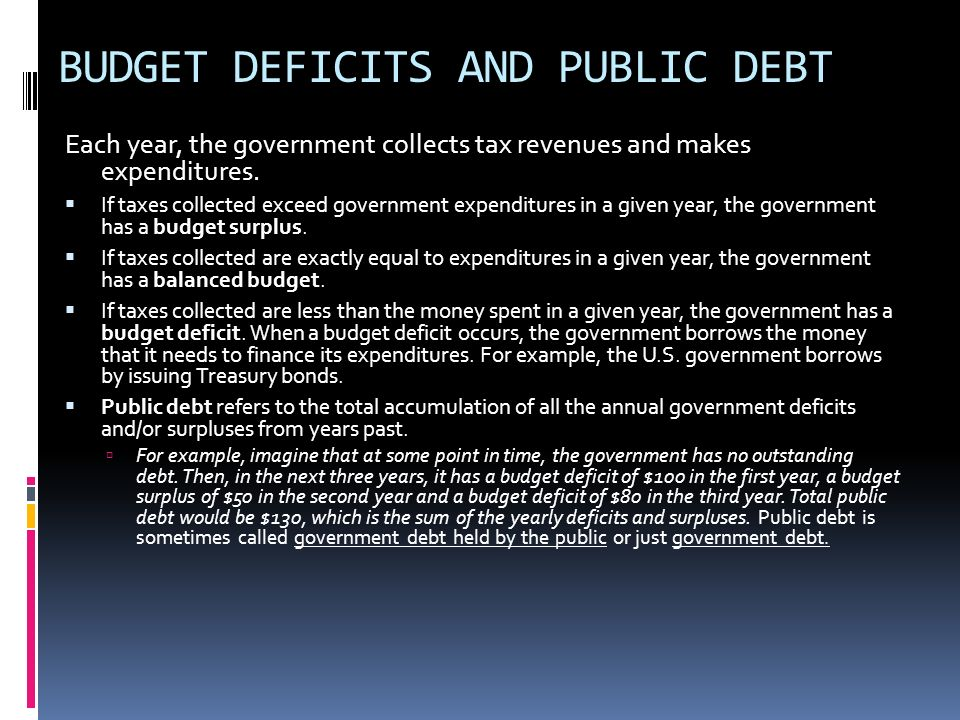 BUDGET DEFICITS AND PUBLIC DEBT Each year, the government collects tax revenues and makes expenditures. If taxes collected exceed government expenditu