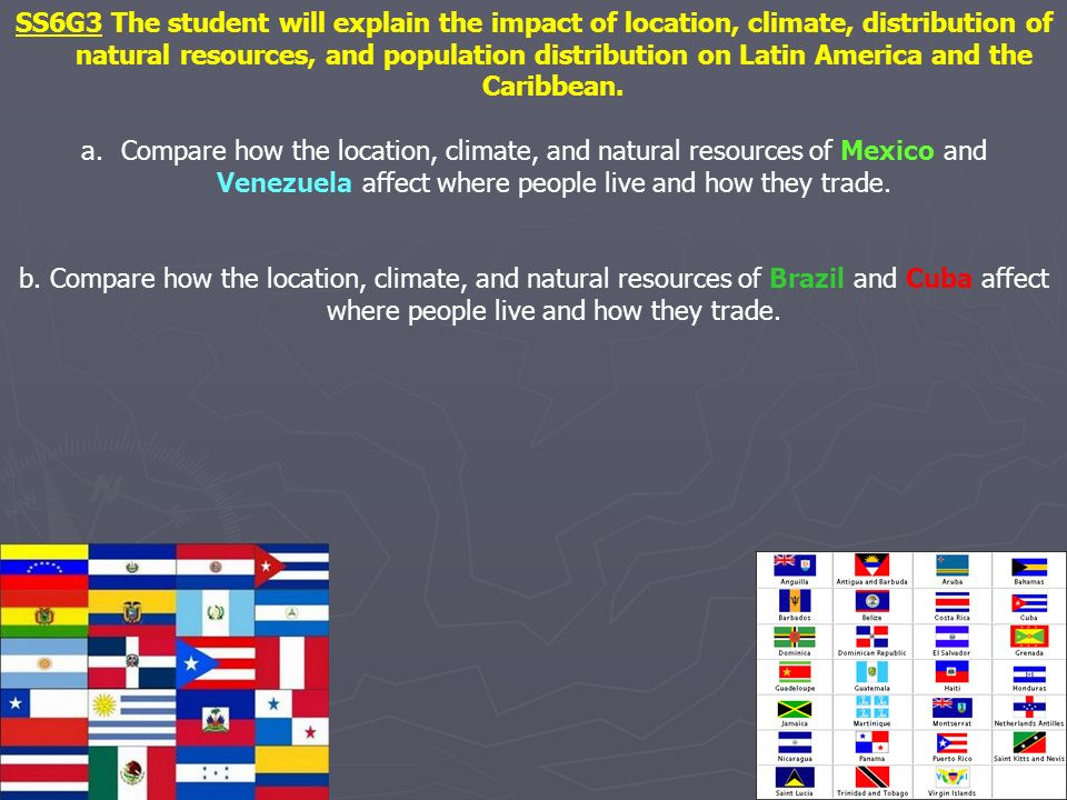 SS6G3 The student will explain the impact of location, climate, distribution of natural resources, and population distribution on Latin America and th