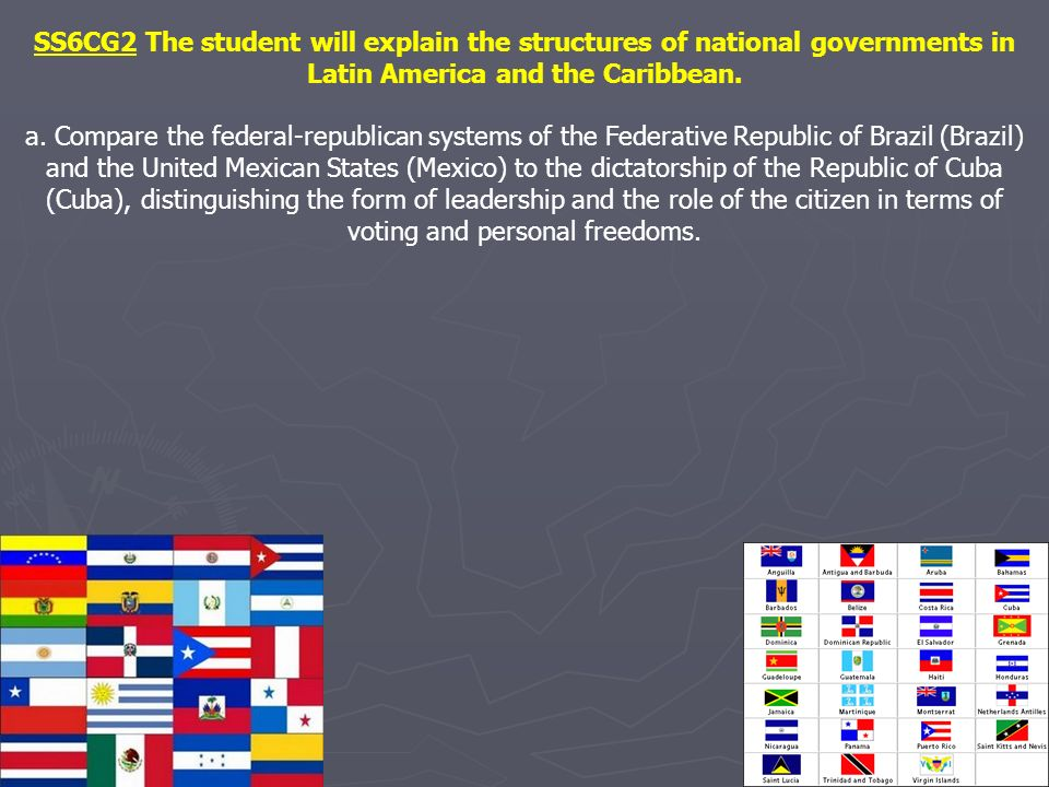 SS6CG2 The student will explain the structures of national governments in Latin America and the Caribbean. a. Compare the federal-republican systems o
