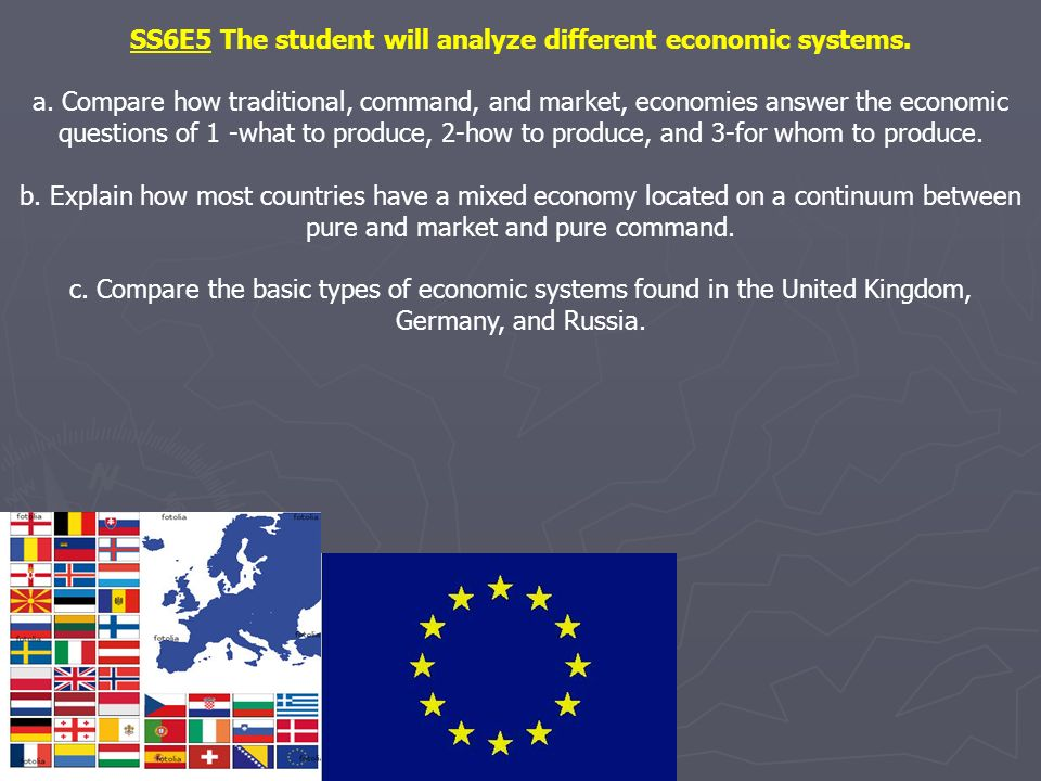 SS6E5 The student will analyze different economic systems. a. Compare how traditional, command, and market, economies answer the economic questions of