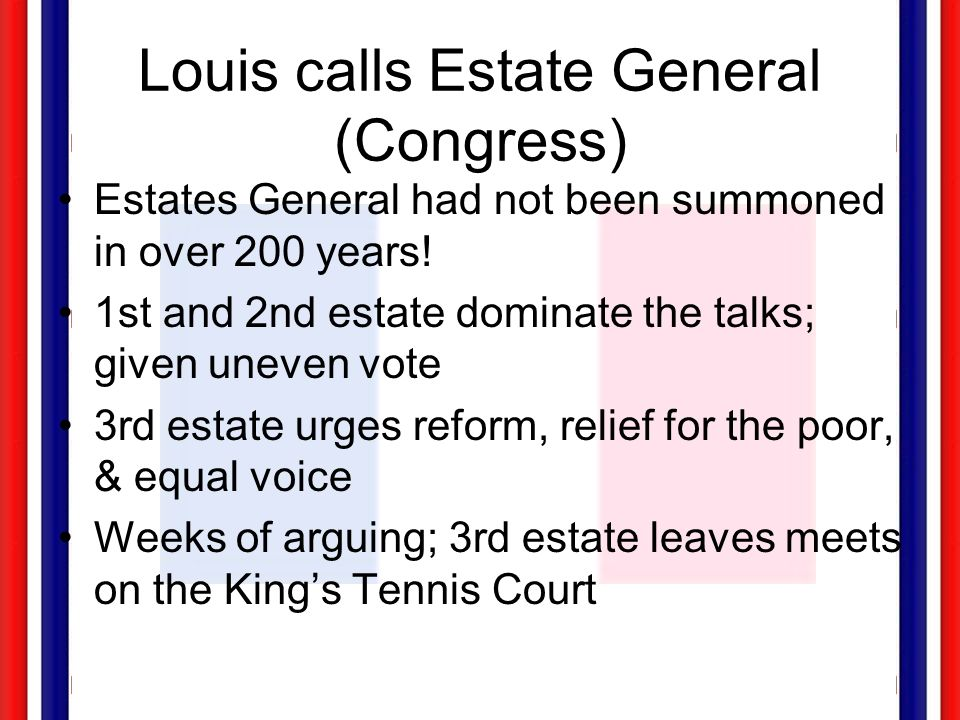 Louis calls Estate General (Congress) Estates General had not been summoned in over 200 years! 1st and 2nd estate dominate the talks; given uneven vot