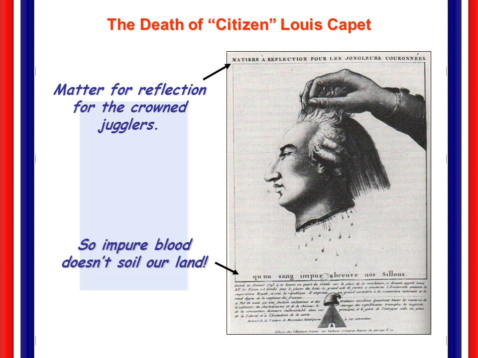 The Death of Citizen Louis Capet Matter for reflection for the crowned jugglers. So impure blood doesnt soil our land!