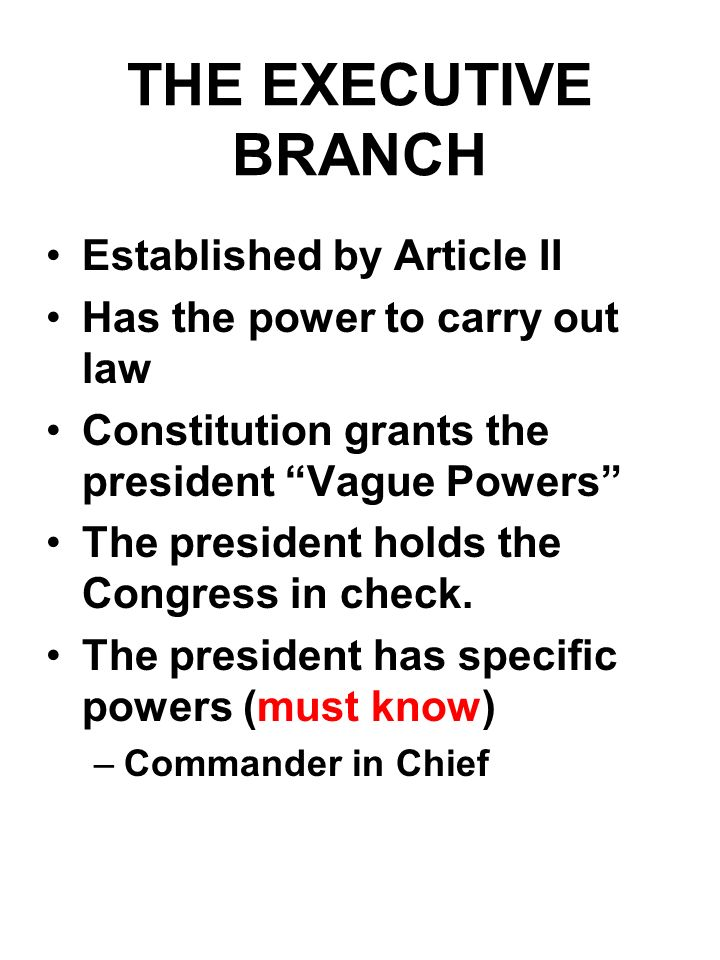 THE EXECUTIVE BRANCH Established by Article II Has the power to carry out law Constitution grants the president Vague Powers The president holds the C