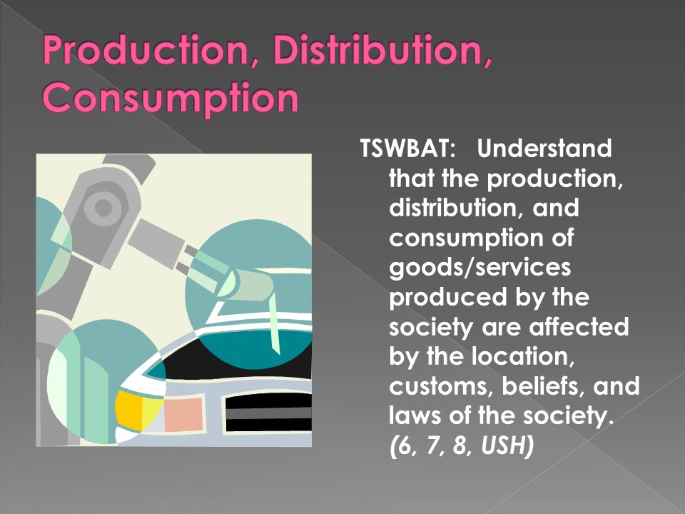 TSWBAT: Understand that the production, distribution, and consumption of goods/services produced by the society are affected by the location, customs,